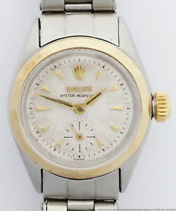Rolex Cool 1950s Rare Ladies Elastic Band Textured Dial Faceted Bezel Watch