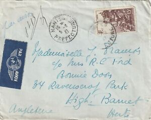 1947 France cover sent from Nantes Prefecture to High Barnet England