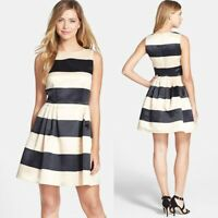 CeCe Cynthia Steffe Stripe Fit & Flare Sleeveless Satin Dress Size 8 Retail $149