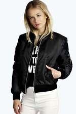 UK Womens Ladies Classic Casual Bomber Jacket Vintage Zip Up Biker Outwear WS015