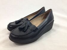 Easy Spirit 360 Shoes Womens 8.5W Escoria Black Leather Slip On Wedge Loafers