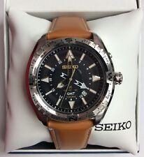 SEIKO Mens PROSPEX Black Dial Brown Leather Strap GMT Kinetic WATCH SUN055