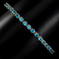 Blue Apatite Round 3mm 14k Gold Plate 925 Sterling Silver Bracelet 10inches