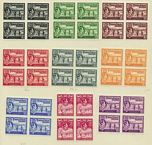 Weeda Turks & Caicos 78/87 VF MH/NH blocks of 4, 1938-45 KGVI issues CV $234.48