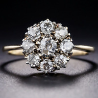 Antique 2.62 CT Round Cz 14K Yellow Gold Finish Cluster Engagement Promise Ring