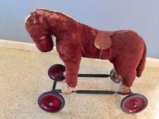 Antique Steiff Ride-on Brown Horse & Wheels Mohair Vintage Toy Saddle Teddy Bear