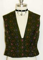 GREEN ~ WOOL German EMBROIDERED Trachten Women Dirndl Dress Skirt VEST/44/8 S