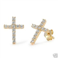 Clear Cross Stud Earrings Sterling Silver 925 Gold Plated Best Price Jewelry