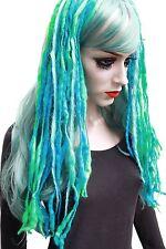 Laine Dread Cheveux Falls bleu vert Extensions de cheveux Sirène Gothique Dark Merino