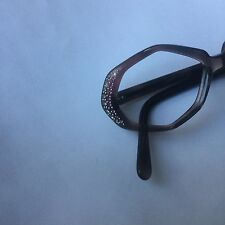 France R&H vintage eyeglass frames warm smoky color w pink, white rhinestones