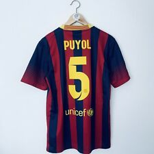 PUYOL 5 Barcelona 2013-14 Home Football Shirt Used-Excellent Adult Small