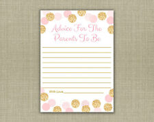 Blush Pink & Gold Glitter Dots Printable Baby Shower Mommy Advice Cards