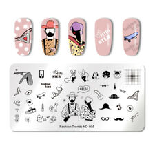 NICOLE DIARY Nail Art Stamping Template Rectangle Image Print Plate Nail Decor