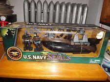 "U.S. NAVY SEALS (2) 3.75"" FIGURES WITH COMBAT RUBBER RAIDING CRAFT & ACCES, NIB"