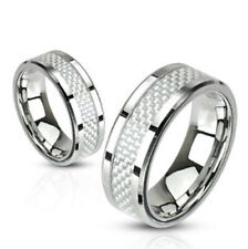 8mm White Carbon Fiber Inlay Band Ring Stainless Steel Men's Wedding Band