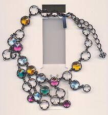 Colorful Crystal Dangling Necklace Oscar De La Renta Stunning