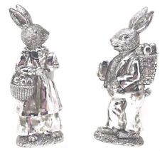 "VTG SILVER EASTER BUNNY RABBITS LARGE FIGURINES 9"" TALL"