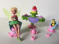 Jakks Disney Fairies Tinkerbell Tea Set and Doll Figure Polly Pocket Size