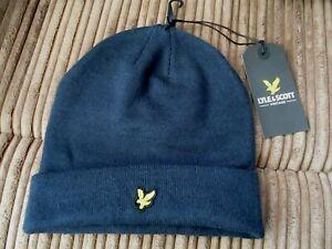Lyle /& Scott Logo Basic Beanie Ribbed Hat Navy Blue Wooly Eagle Ship Worldwide