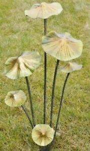 Metallic Mushroom Bunch Stakes Toadstools Fairy Garden Ornament Lawn Display