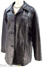Vintage 70s patchwork 100% leather black trench Suit Coat Jacket moto women SZ L