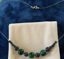 "Green Jasper  And Hawaiian Volcanic Beads Necklace 18"""