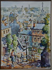 Aquarelle Juan SEVILLA SAEZ né en 1922 ESPAGNE Vue de Montmartre Paris