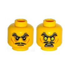 LEGO - Minifig, Head  Mustache / Stern Dark Gray Bushy Eyebrows, Sunken Eyes