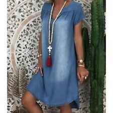 Plus Size S-3XL Lady Short Sleeve Summer Loose Denim Midi Women Jeans Dress New