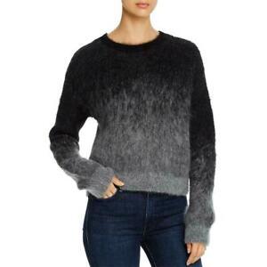 Eileen Fisher Sz L Crew Neck Fuzzy Charcoal Black Ombre Sweater Alpaca Blend