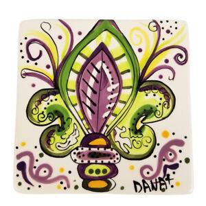 "Caffco International Dana Wittmann Ceramic Trivet Fleur De Lis New Orleans 6.25"""