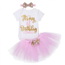 Girl Outfit Infant Dress Romper Tutu Skirt Headband Birthday 1st  Party 3pcs Set