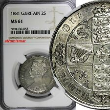 Great Britain Victoria Silver 1881 2 Shillings,Florin NGC MS61 KM# 746.4 (053)