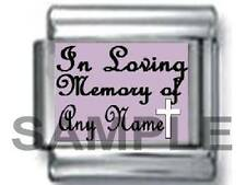 IN LOVING MEMORY OF 'ANY NAME' w CROSS CUSTOM PERSONALIZE 9MM ITALIAN CHARM love