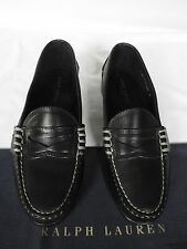 NEW RALPH LAUREN EDRIC Moccasin Style Black Leather Loafer Shoes UK 10.5 E £260