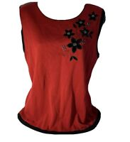 DRESS BARN 2 PIECE RED black TANK  TOP BLOUSE and matching SWEATER Size Medium