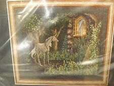 "Vtg 1989 NEW Mythical Magical White Unicorn Horse 15+"" Counted Cross Stitch Kit"