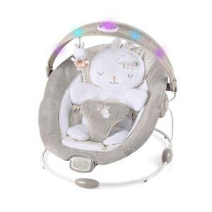 New Ingenuity InLighten Bouncer Cradling Baby Bouncer with Bunny Bolster - 0-6M
