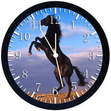 Beautiful Horse Black Frame Wall Clock Nice For Decor or Gifts Y45