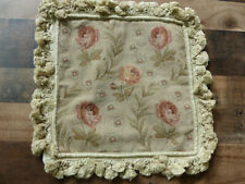 """14""""x14"""" Square New French Floral Needlepoint Hand Woven Tassel Cushion Pillow"""