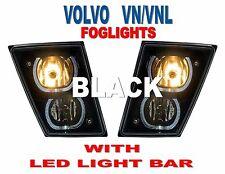 VOLVO VN/VNL (BLACK) FOG LIGHTS w/ White LED Light Bars (PAIR) 2004+