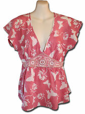 FIREFLY Collection Size Small Pink Butterfly Print Heavily Beaded Blouse