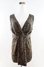 New York & Company Women's Sleeveless V-Neck Empire Waist Blouse Sz 8 multicolor