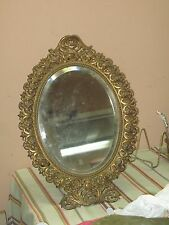 "Large Antique Gold Gilt Metal Bronze Victorian Style Ornate Table Mirror 13""x18"""
