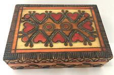 HEART BOX Polish Handmade Linden Wood Jewelry Box Hearts Love Keepsake Vtg 1997