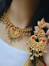 Indian Women Bridal Necklace Set Gold Plated Fashion Jewelry Wedding Wear