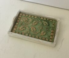 Dollhouse Miniatures Artisan Wooden Tray With Arts And Crafts Handmade Tile