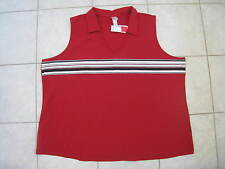 Women's Fashion Bug Stretch Perfect Fit Red Collared Sleeveless Top Size 30/32W