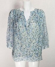 ALMOST FAMOUS pastel blue green print chifon Rayon crepe Pleated loose Blouse 10