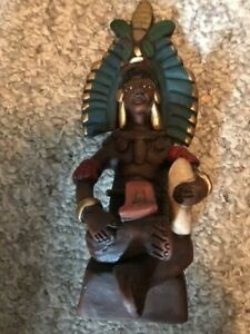 Vintage Mexican Clay Pottery Statue Aztec Mayan Figure Man fertility idol Mexico